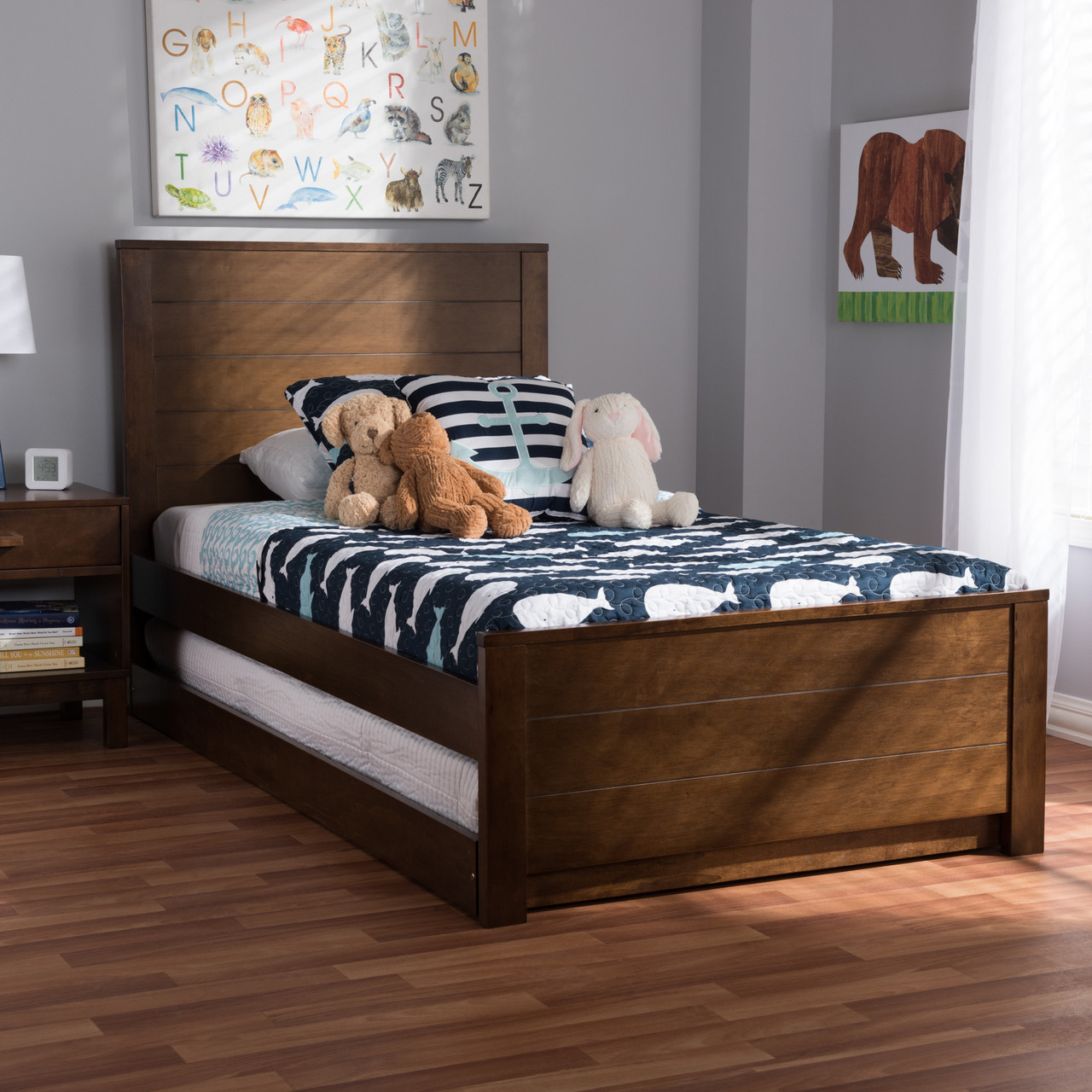 b165ce9caa66 Baxton Studio Catalina Modern Classic Mission Style Brown-Finished Wood Twin  Platform Bed with Trundle - DealBeds.com