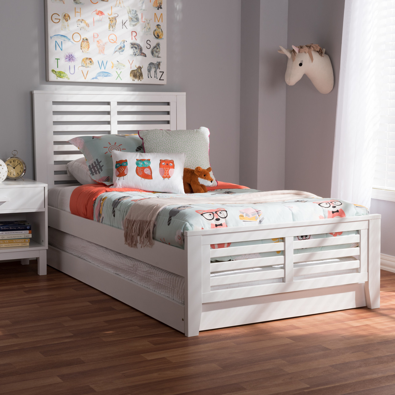 749f042fc63c Baxton Studio Sedona Modern Classic Mission Style White-Finished Wood Twin  Platform Bed with Trundle - DealBeds.com