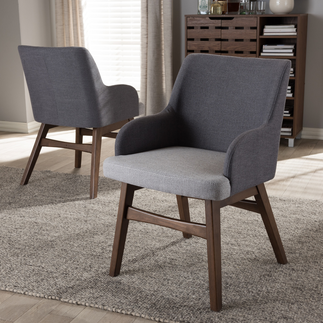 71e06f3e5828 Baxton Studio Monte Mid-Century Modern Two-Tone Grey Fabric Armchair -  DealBeds.com