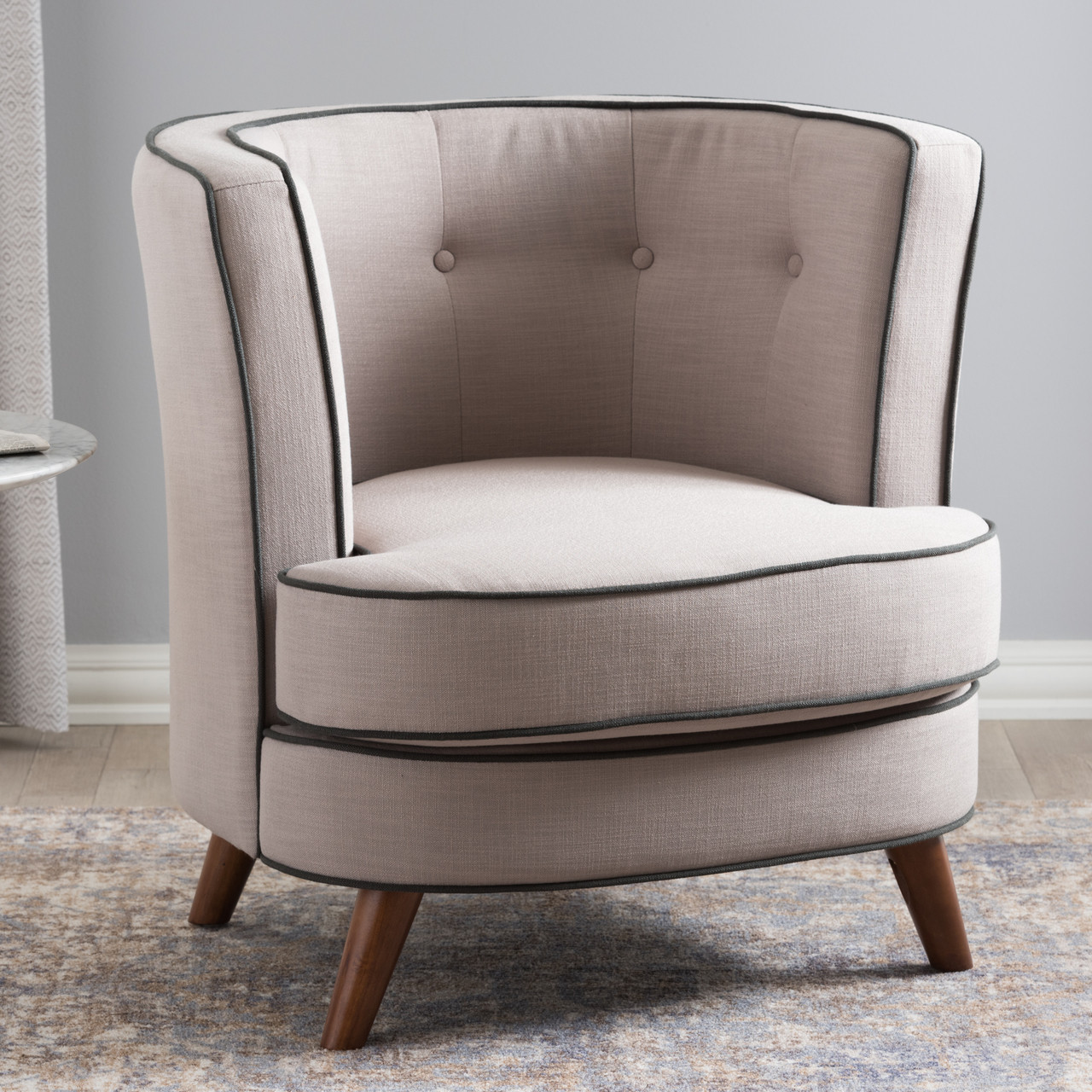 Groovy Baxton Studio Albany Mid Century Modern Beige Fabric Upholstered Walnut Wood Button Tufted Accent Chair Ibusinesslaw Wood Chair Design Ideas Ibusinesslaworg
