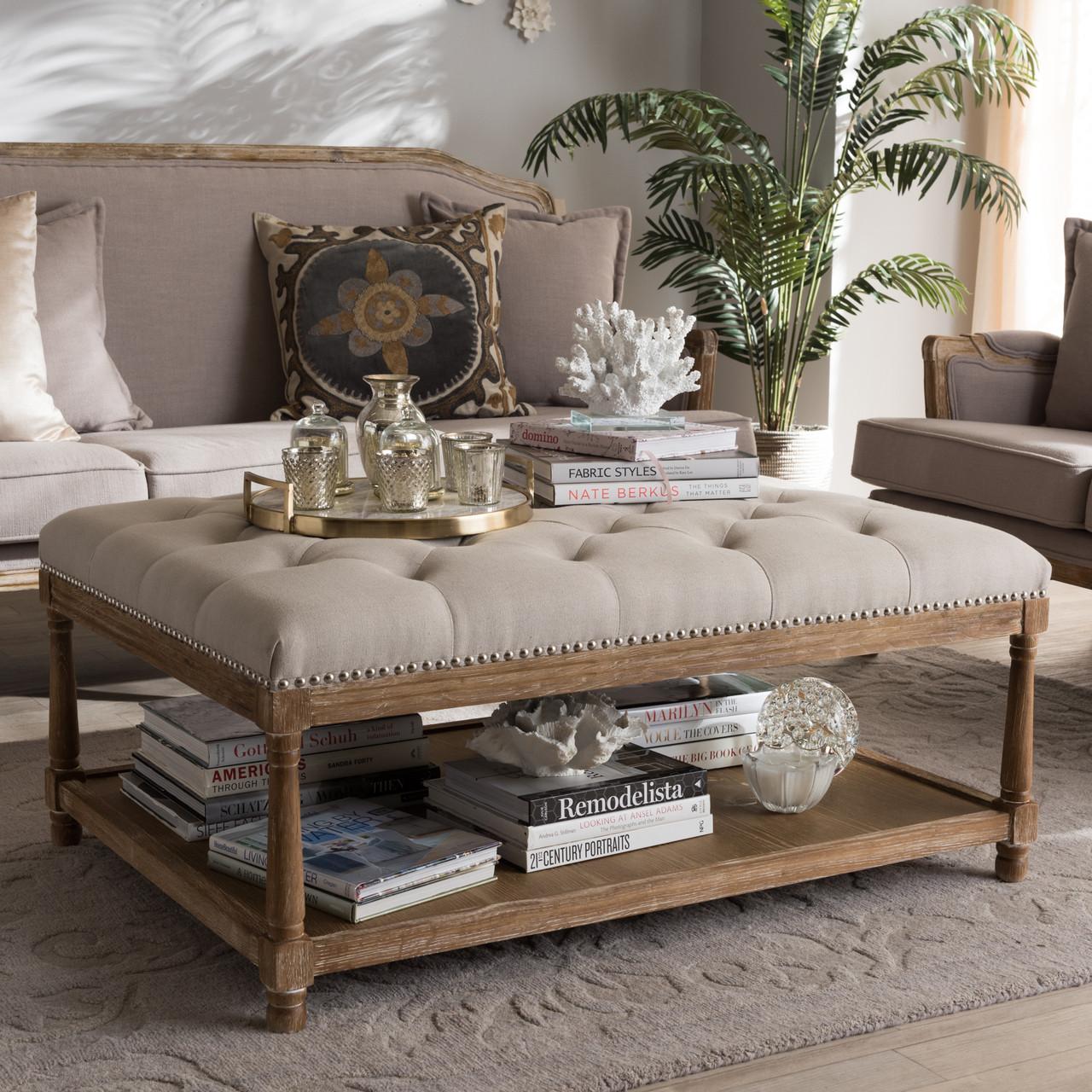 9b5e27d7b5c1c Baxton Studio Carlotta French Country Weathered Oak Beige Linen Rectangular  Coffee Table Ottoman