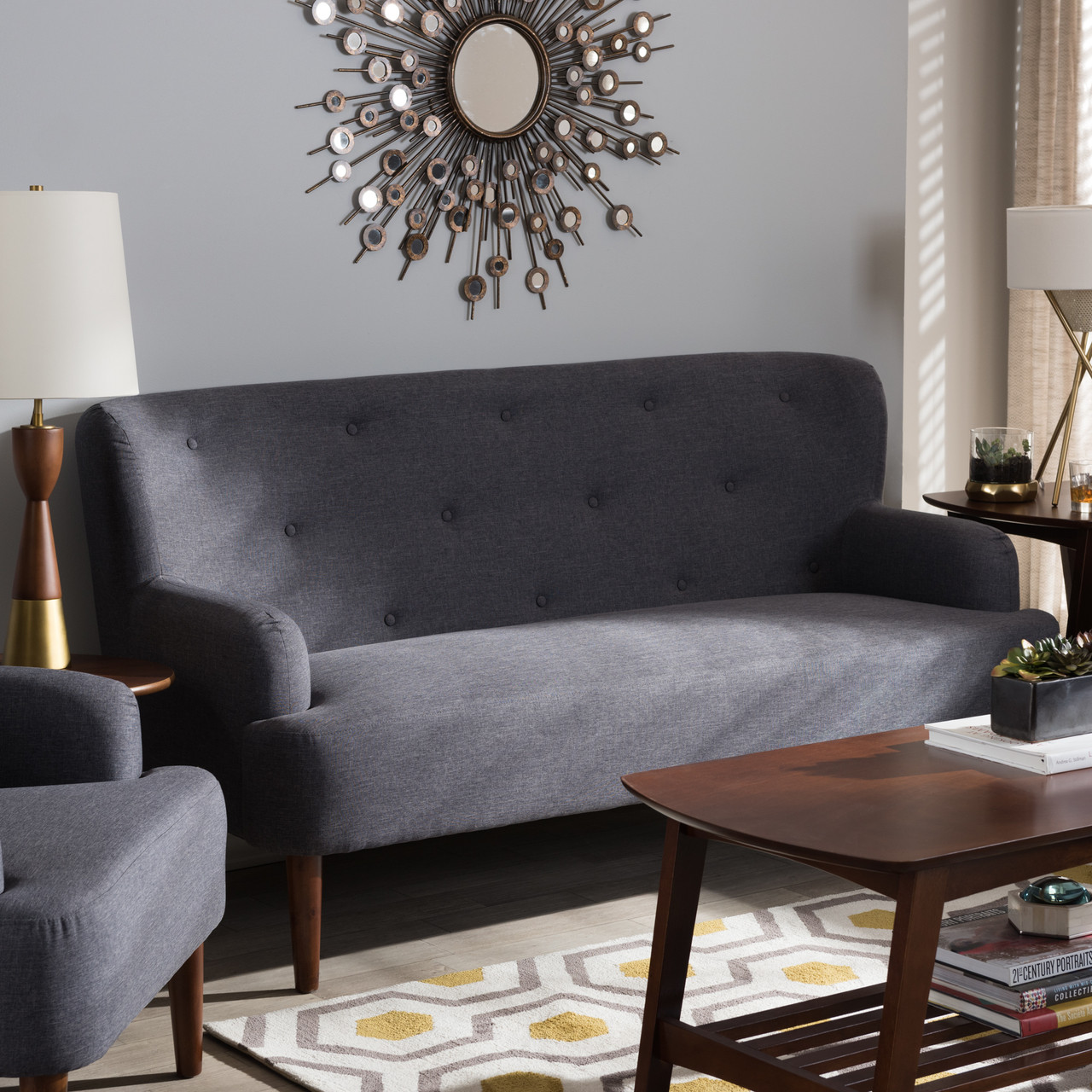 Baxton studio toni mid century modern dark grey fabric upholstered walnut wood button tufted