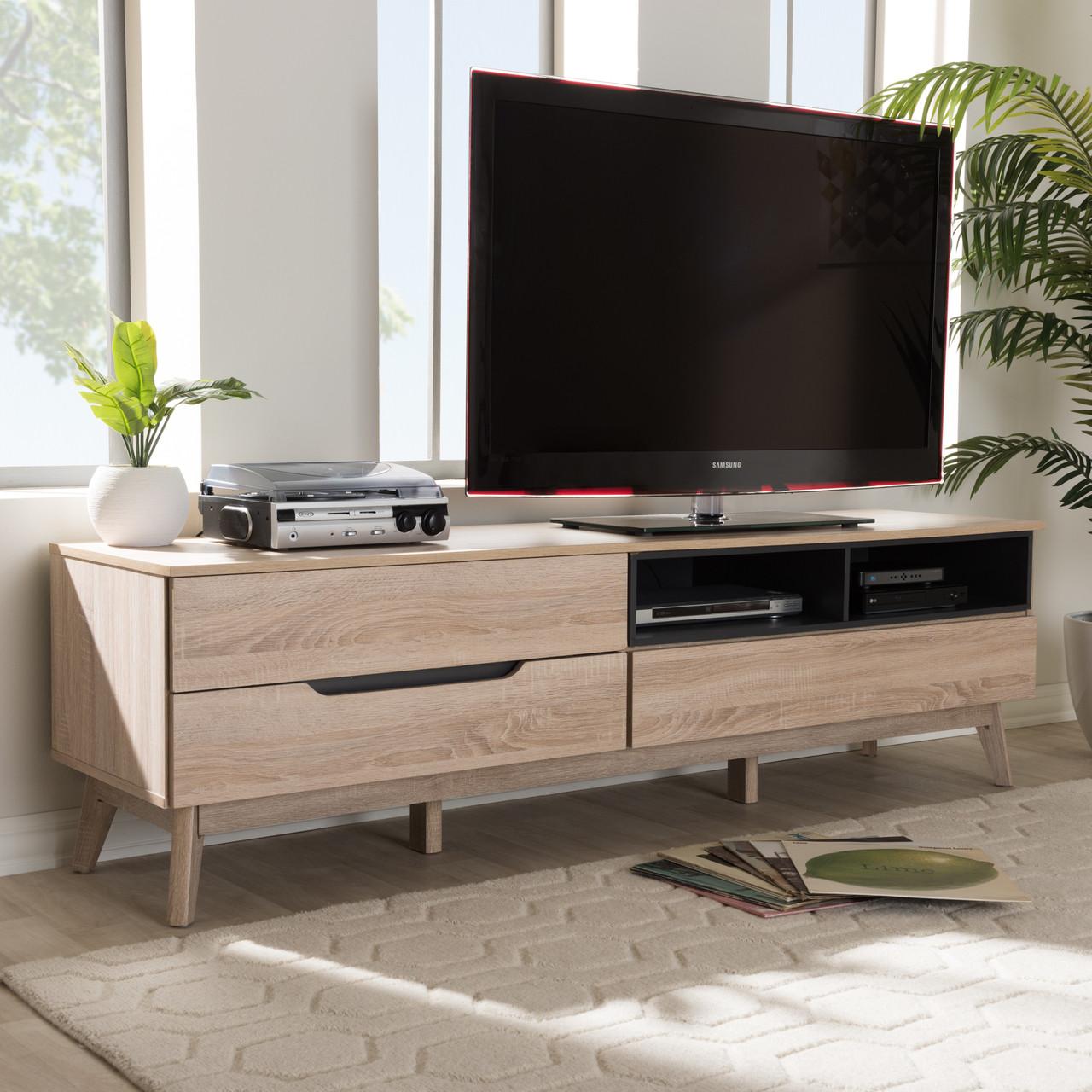 Baxton Studio Fella Mid Century Modern Two Tone Oak And Grey Wood Tv
