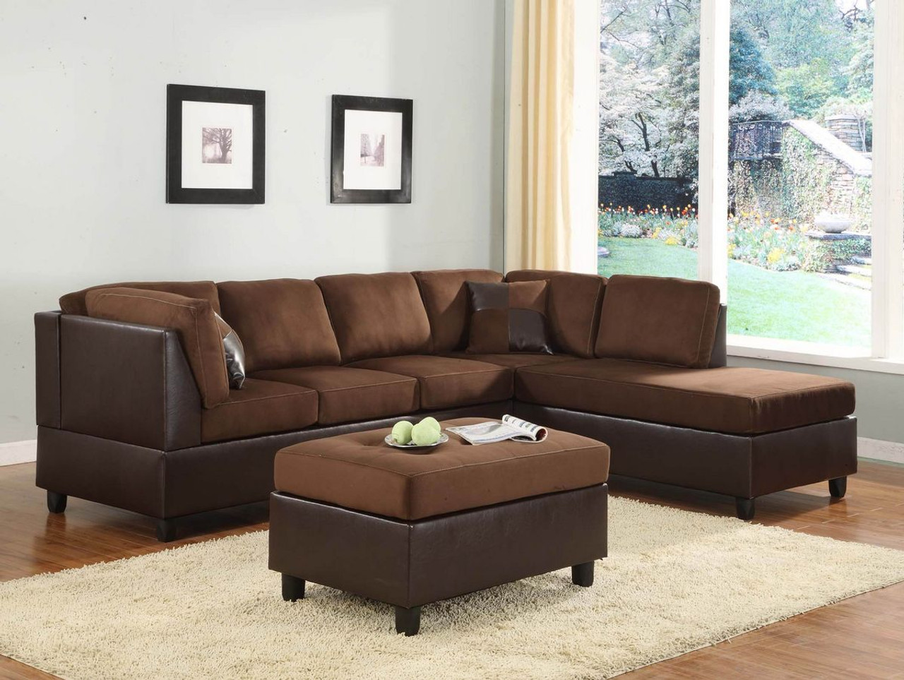 Homelegance Comfort Living Chocolate Reversible Sectional Sofa Set ...