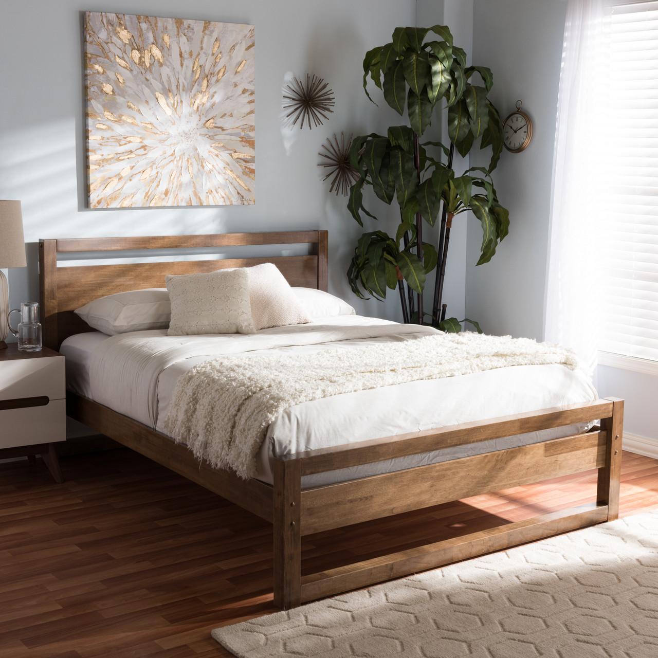 6cae1785636bd Baxton Studio Torino Mid-Century Modern Solid Walnut Wood Open Frame Style  Platform Bed