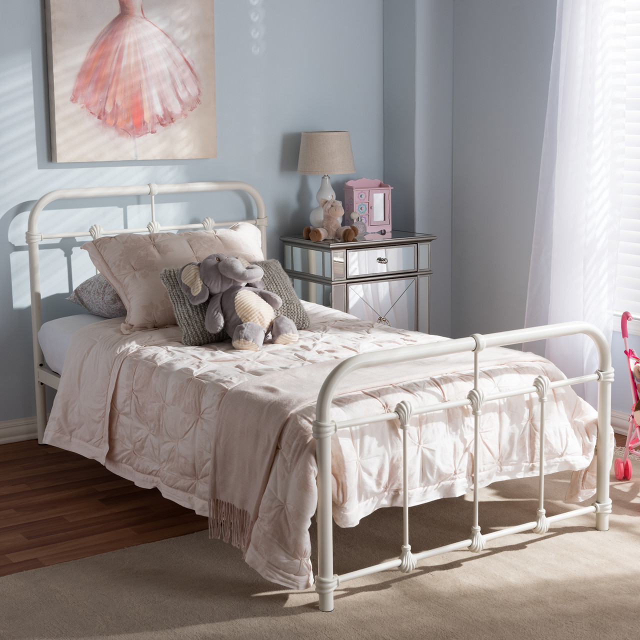 df5428f4897c Baxton Studio Mandy Vintage Industrial White Finished Metal Twin Size  Platform Bed - DealBeds.com