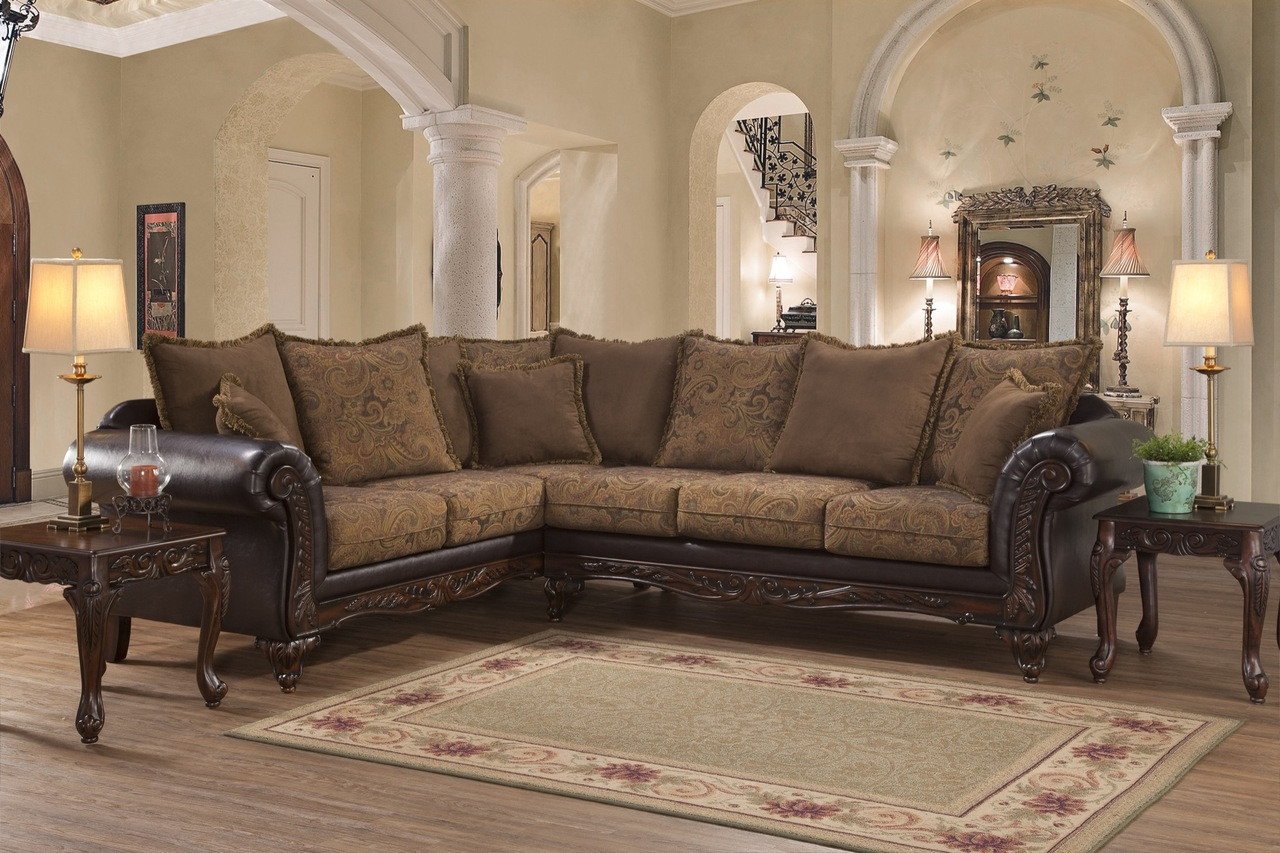 Serta Upholstery San Marino Traditional Style Sectional in Chocolate Brown
