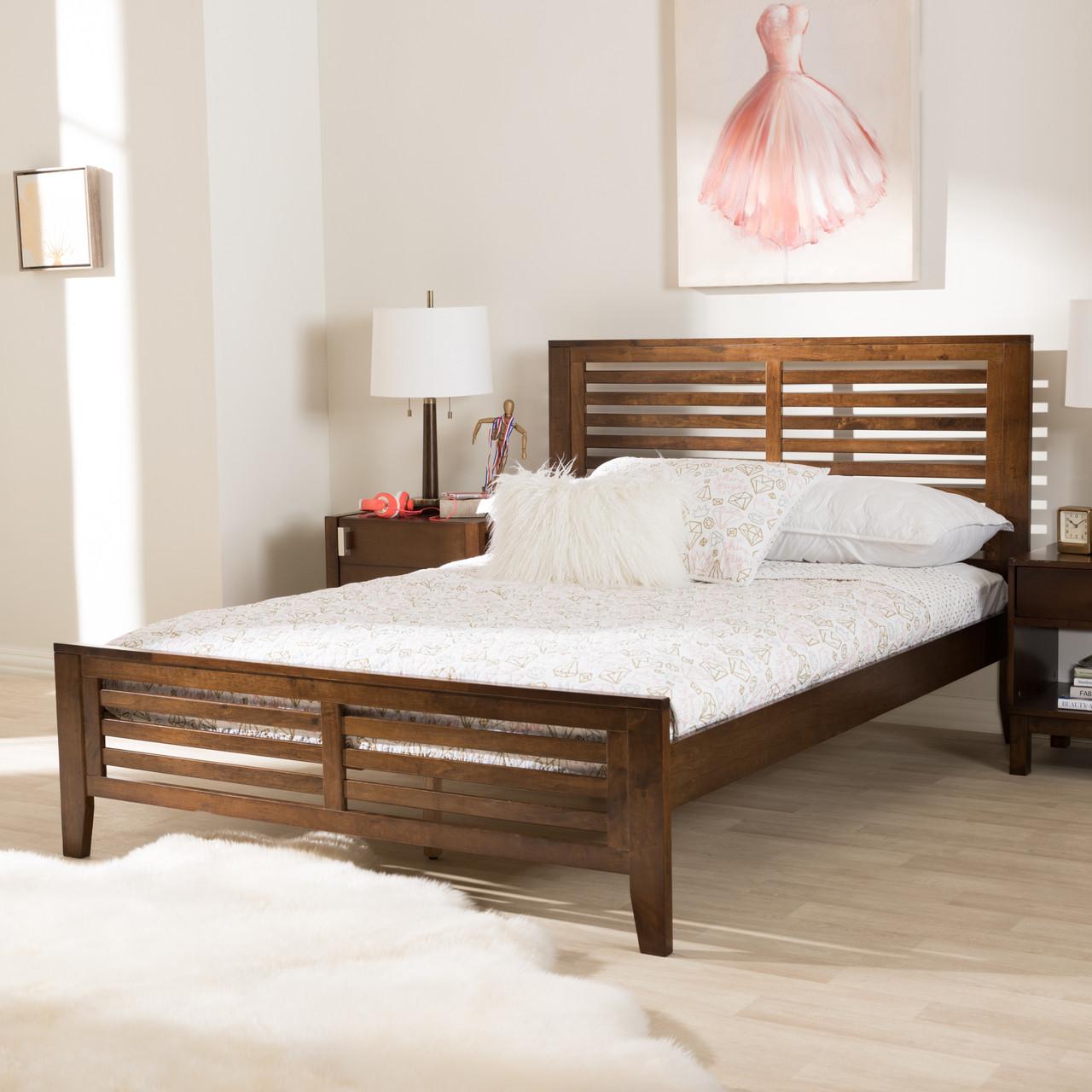 4360463747 Baxton Studio Sedona Modern Classic Mission Style Walnut Brown-Finished Wood  Full Platform Bed - DealBeds.com