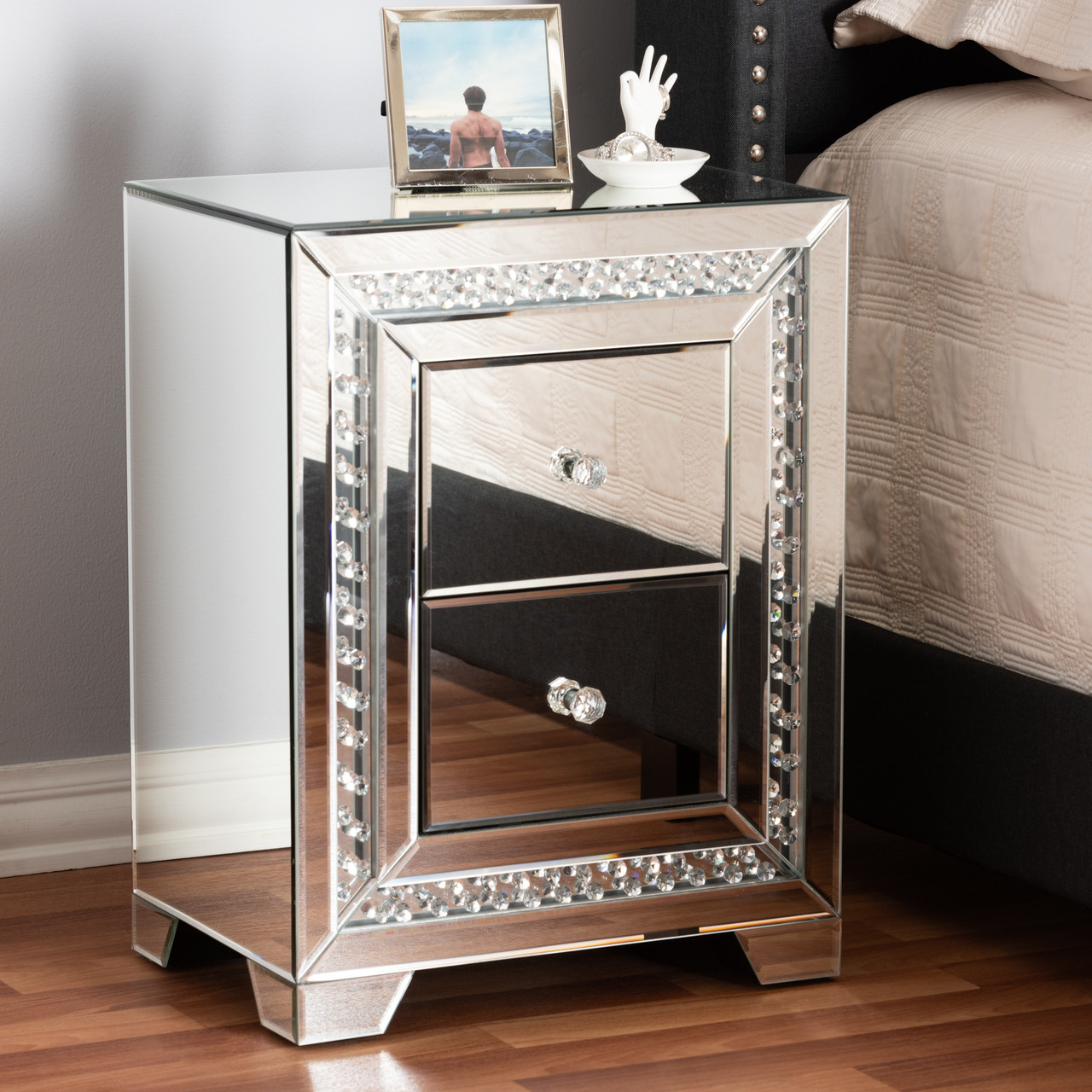Baxton Studio Mina Modern And Contemporary Hollywood Regency Glamour Style Mirrored 2 Drawer Nightstand Bedside Table