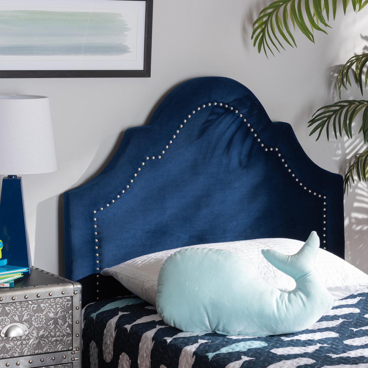 Baxton Studio Rita Modern And Contemporary Navy Blue Velvet Fabric Upholstered Headboard Dealbeds Com