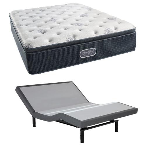 Simmons Beautyrest Silver Plush Pillow Top Mattress with Leggett & Platt S-Cape 2.0 Adjustable Bed Base Set