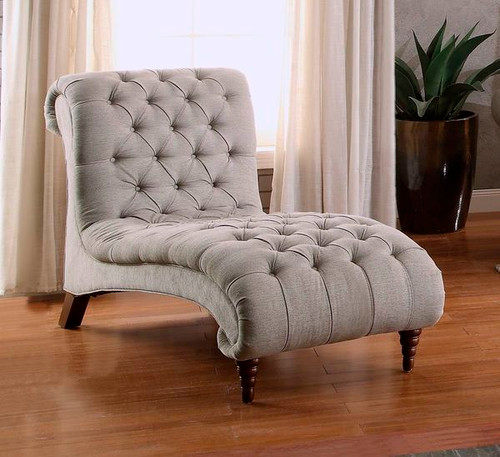 Homelegance Chesterfield Traditional Style Chaise Lounge with Tufting and Rolled Arm Design in Brown/Almond