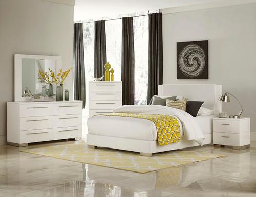 Homelegance Linnea 4-Piece White High Gloss Bedroom Set