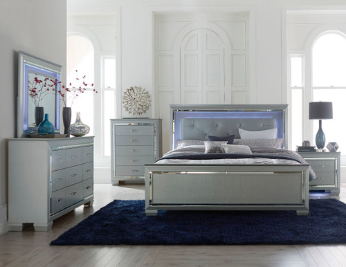 Homelegance Allura Collection 4 Piece Bedroom Set in Silver