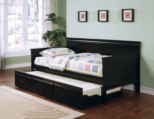 Coaster Russell Black Daybed and Trundle Image 1