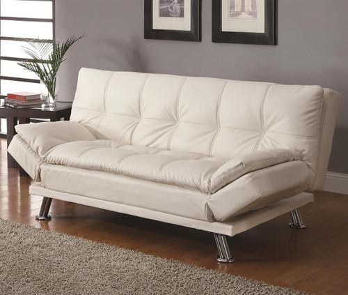 Coaster Dilleston Contemporary Futon Sleeper Sofa in White Image 1