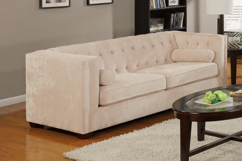 Coaster Alexis Button Tufted Chesterfield Sofa in Almond