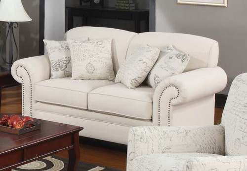Coaster Norah Traditional Antique Loveseat in Oatmeal