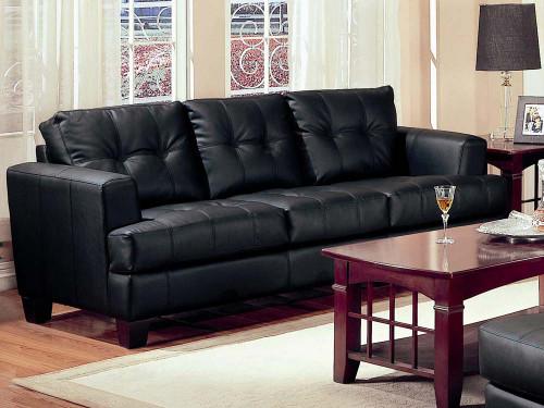 Coaster Fine Furniture Samuel Contemporary Leather Sofa in Black