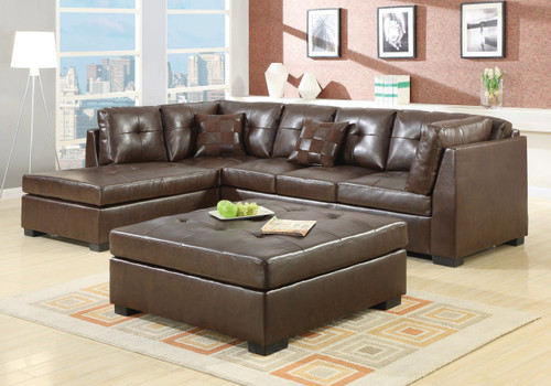 Coaster Darie Leather Sectional Sofa in Brown