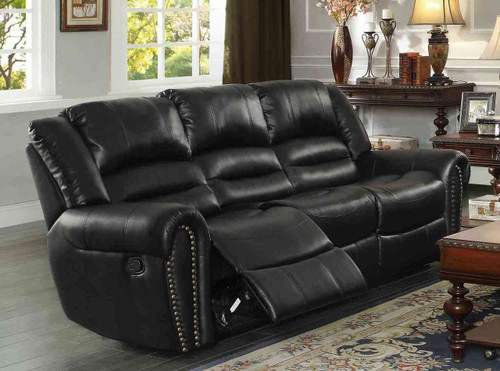 Homelegance Center Hill Double Reclining Sofa in Black