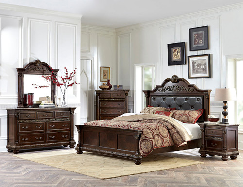 Homelegance Russian Hill 4-Piece Upholstered Bedroom Set in Cherry