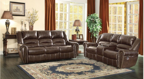 Homelegance Center Hill Brown Double Reclining Sofa and Loveseat Set