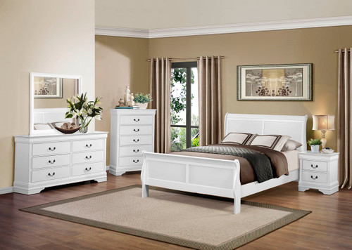 Homelegance Mayville 4-Piece Upholstered Bedroom Set in White Image 1