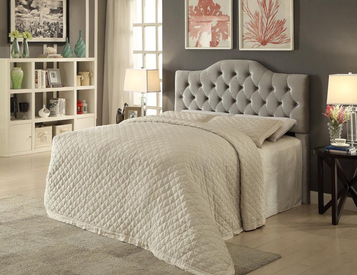 iDealBed St. Martin Upholstered Button Tufted Headboard in Grey Velvet