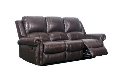 J. Graham Parker Genuine Top Grain Leather Manorville Reclining Sofa in Brown