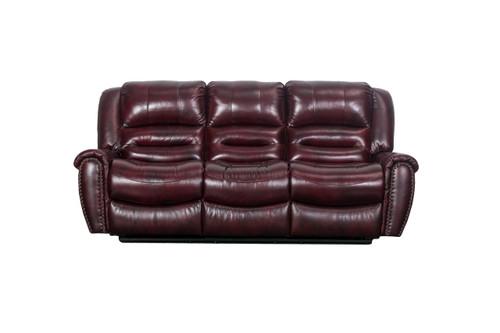 J. Graham Parker Genuine Top Grain Leather Vineyard Reclining Sofa in Maroon