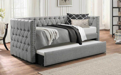 iDealBed Everest Button Tufted Upholstered Daybed with Trundle
