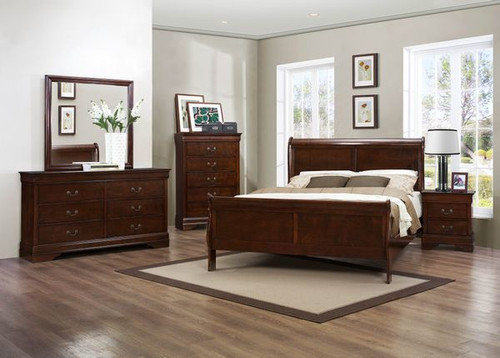 Coaster Louis Phillipe 5-Piece Sleigh Bedroom Set in Cherry Image 1