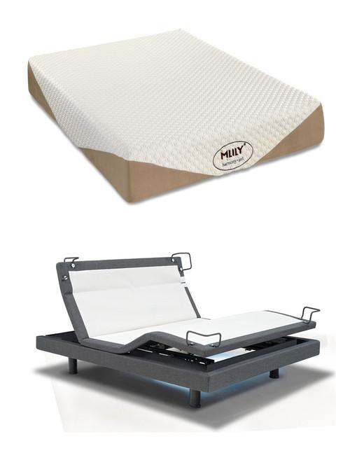 "MLily Harmony 10"" Gel Memory Foam Mattress Reverie 8Q Adjustable Bed Set"