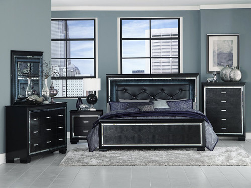 Homelegance Allura Collection 4 Piece Bedroom Set in Black