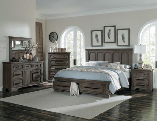 Homelegance Toulon Collection 4 Piece Bedroom Set in Distressed Dark Oak