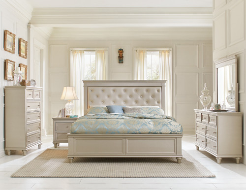 Homelegance Celandine Collection 4 Piece Bedroom Set in Silver