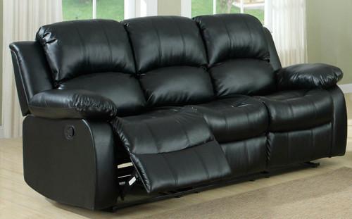 Homelegance Cranley Reclining Black Leather Sofa open