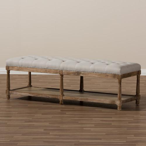 Baxton Studio Celeste French Country Weathered Oak Beige Linen
