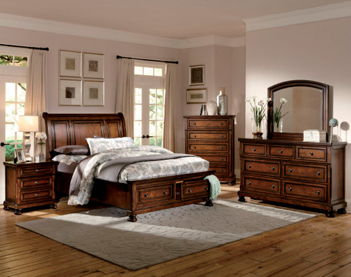 Homelegance Cumberland Collection Platform Bed in Brown Cherry