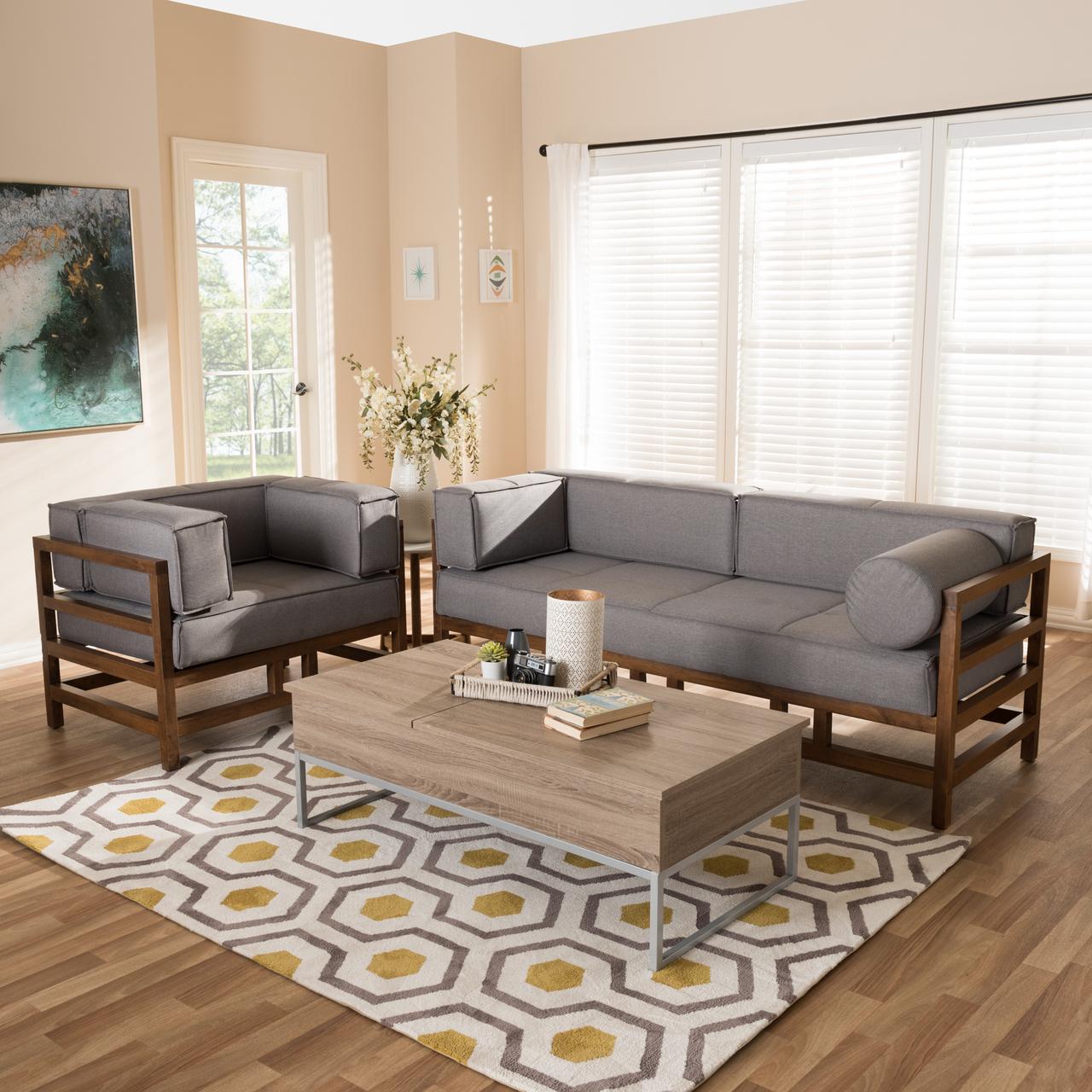 Baxton Studio Shaw Mid-Century Modern Grey Fabric Upholstered Walnut Wood  2-Piece Living Room Sofa Set