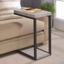 Coaster Amalia Chairside Accent Table In Cement Dealbeds Com