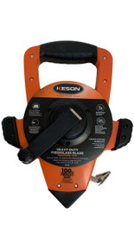 Keson OTRS1810100 100 Ft. Ft, In, 1/8 And Ft, 1/10, 1/100 Fiberglass Tape Measure With Hook End Speed Rewind