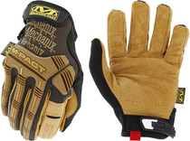 Mechanix Wear® Tan And Brown Leather M-Pact® Leather Full Finger Anti-Vibration Gloves With Hook And Loop Cuff
