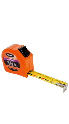 Keson PGTFD16V Short Tape Measure with Nylon Coated Steel Blade and Toggle Lock