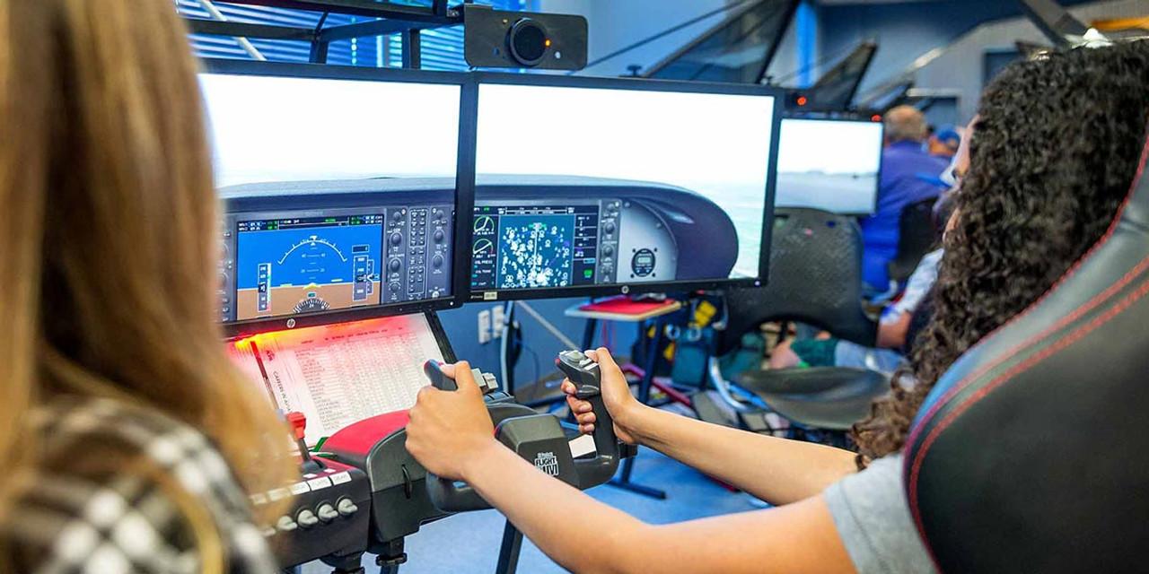 student piloting flight zone simulator