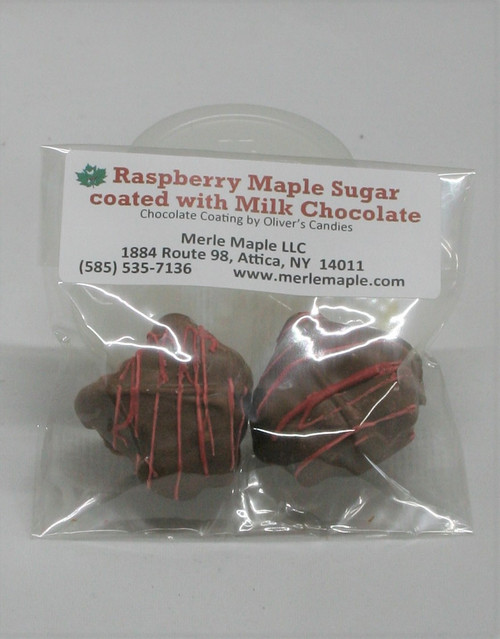 2 Piece Raspberry Maple Sugar - coated with Milk Chocolate
