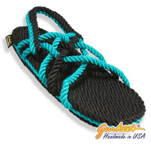 Signature Neptune Black & Teal Rope Sandals