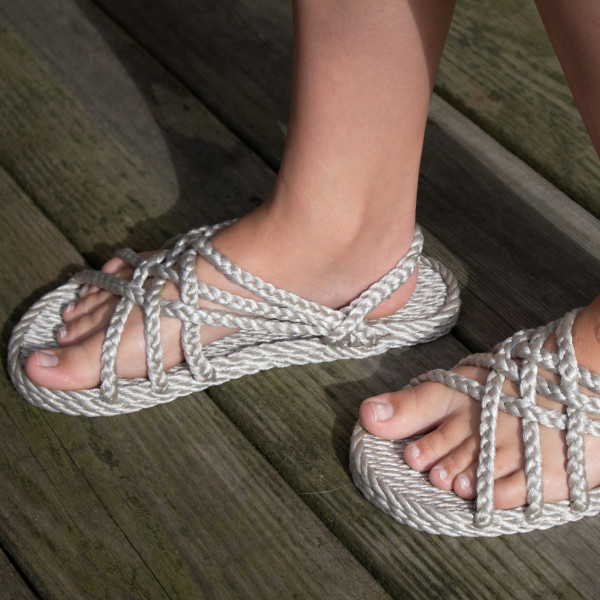 Braided Bunch Neptune Platinum Color Rope Sandals