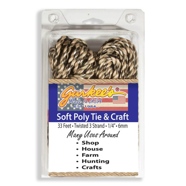 """Soft Poly Twisted 3 Strand Rope Rope Camo 33' (1/4""""/6mm)"""